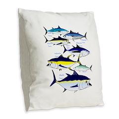 7 tuna Burlap Throw Pillow