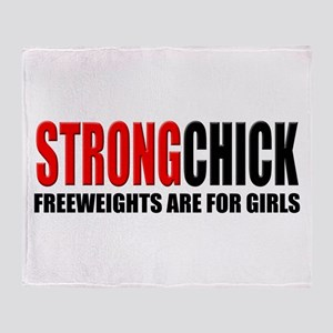 Freeweights Are For Girls Throw Blanket