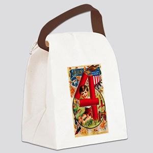 4th of July Firecrackers Canvas Lunch Bag