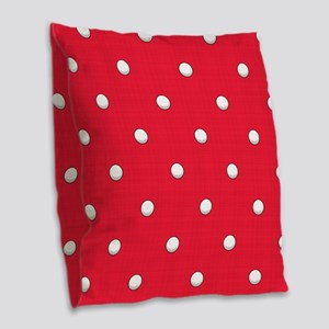 Scarlet Red Golf Ball Pattern Burlap Throw Pillow