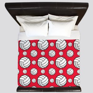 Scarlet Red Volleyball Pattern King Duvet