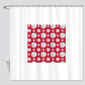 Scarlet Red Volleyball Pattern Shower Curtain