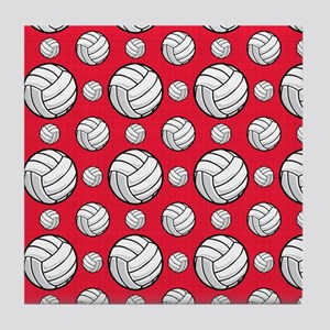 Scarlet Red Volleyball Pattern Tile Coaster