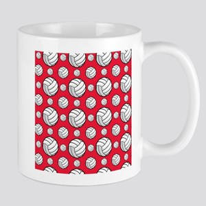 Scarlet Red Volleyball Pattern Mugs