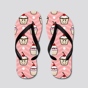 Happy Cupcakes on Pink Chevron Stripes Flip Flops