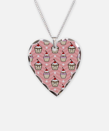 Happy Cupcakes on Pink Chevron Stripes Necklace