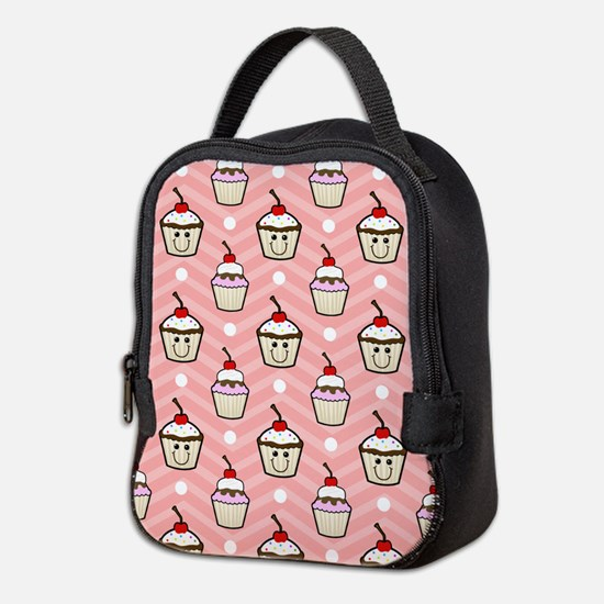 Happy Cupcakes on Pink Chevron Stripes Neoprene Lu