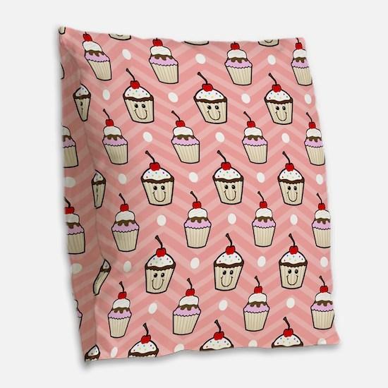 Happy Cupcakes on Pink Chevron Stripes Burlap Thro