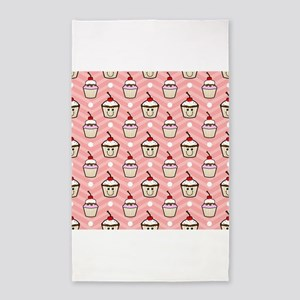 Happy Cupcakes on Pink Chevron Stripes 3'x5' Area