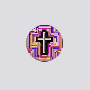 The Stained Glass Cross. Mini Button