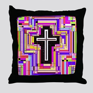 The Stained Glass Cross. Throw Pillow