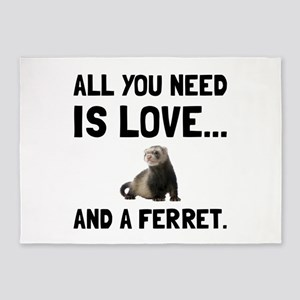 Love And A Ferret 5'x7'Area Rug