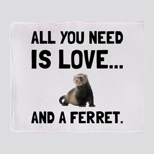 Love And A Ferret Throw Blanket