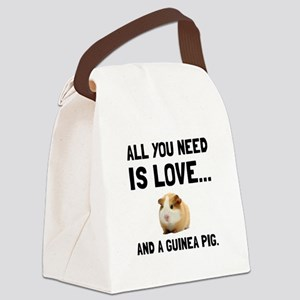 Love And A Guinea Pig Canvas Lunch Bag