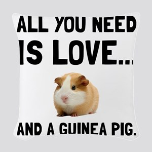 Love And A Guinea Pig Woven Throw Pillow