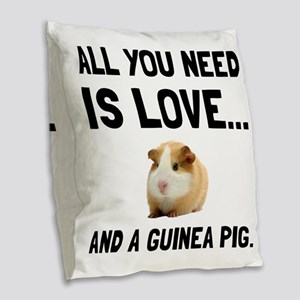Love And A Guinea Pig Burlap Throw Pillow