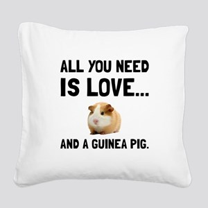 Love And A Guinea Pig Square Canvas Pillow