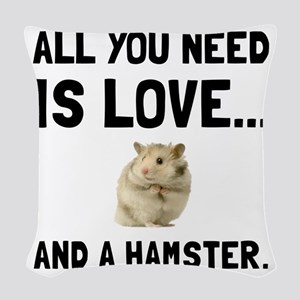 Love And A Hamster Woven Throw Pillow