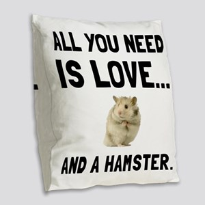 Love And A Hamster Burlap Throw Pillow