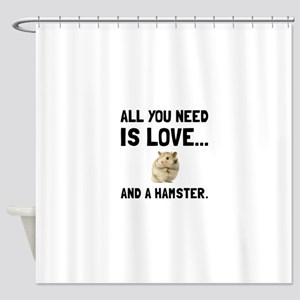 Love And A Hamster Shower Curtain