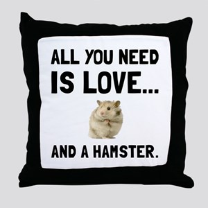 Love And A Hamster Throw Pillow
