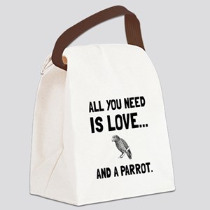 Love And A Parrot Canvas Lunch Bag