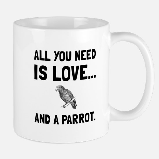 Love And A Parrot Mugs