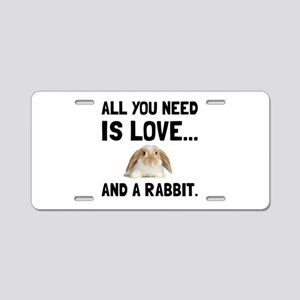 Love And A Rabbit Aluminum License Plate