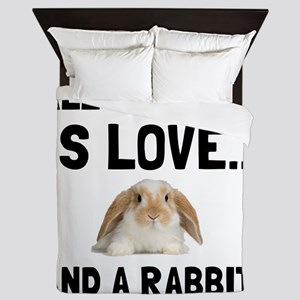 Love And A Rabbit Queen Duvet