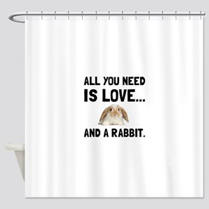 Love And A Rabbit Shower Curtain
