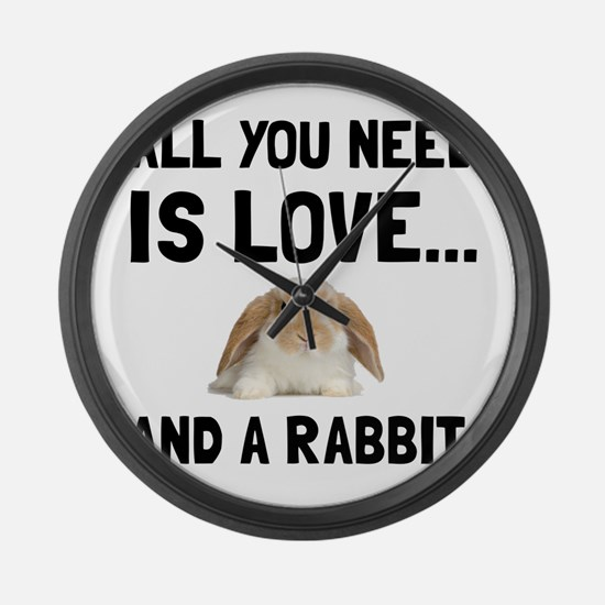 Love And A Rabbit Large Wall Clock