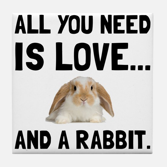 Love And A Rabbit Tile Coaster