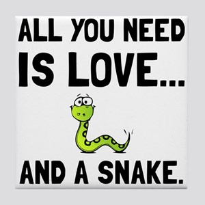 Love And A Snake Tile Coaster
