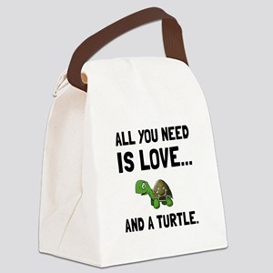 Love And A Turtle Canvas Lunch Bag