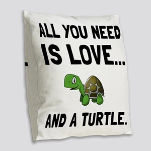 Love And A Turtle Burlap Throw Pillow