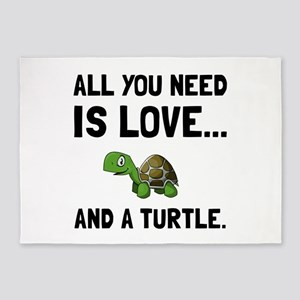 Love And A Turtle 5'x7'Area Rug