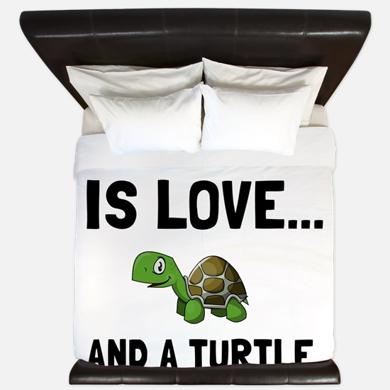 Love And A Turtle King Duvet