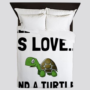Love And A Turtle Queen Duvet