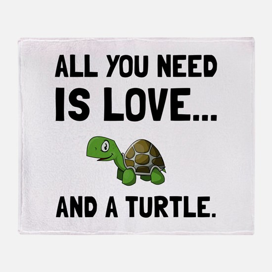 Love And A Turtle Throw Blanket