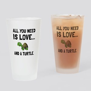 Love And A Turtle Drinking Glass