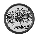 Transparent flowers Large Wall Clock