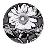 Sunflower at night Round Car Magnet