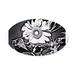 Sunflower at night Oval Car Magnet