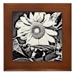 Sunflower at night Framed Tile