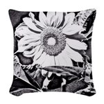 Sunflower at night Woven Throw Pillow