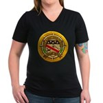 USS ALBERT DAVID Women's V-Neck Dark T-Shirt