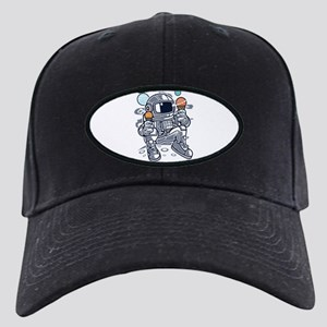 Astronaut With Ice Cream Black Cap with Patch