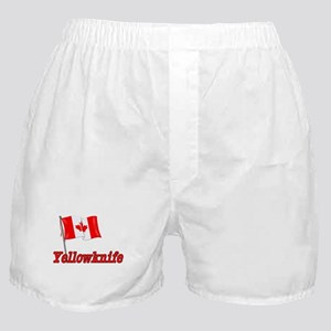 Canada Flag - Yellowknife Text Boxer Shorts