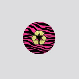 HOT PINK ZEBRA GOLD RECYCLE Mini Button
