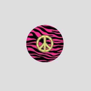 HOT PINK ZEBRA GOLD PEACE Mini Button